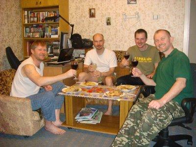 Feodor, Vladimir, ich und Theodor in Irkutsk