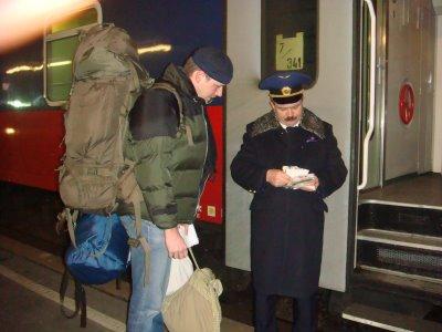 """""""Check in"""" beim Schlafwagen in Wien-Westbahnhof"""