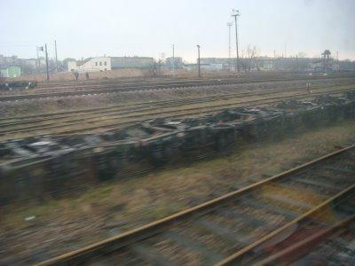 Fahrgestelle vorm Bahnhof Brest - Weißrussland