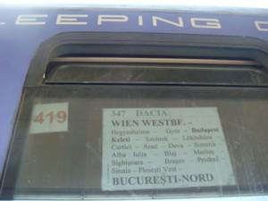 "Zuglauf D 347 ""Dacia"" Wien - Bukarest Nord"