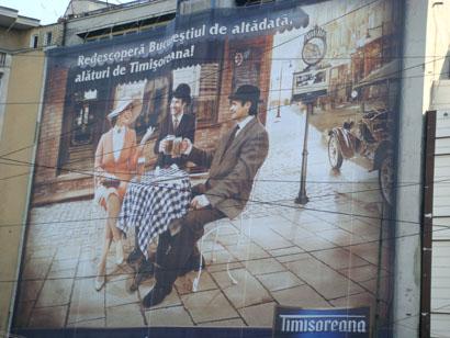 Bukarest - Werbung Timisoreana Bier
