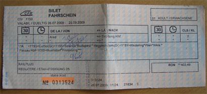 Internationaler Fahrschein Arad - Salzburg