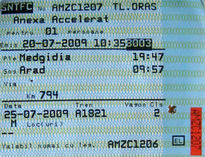 Fahrschein CFR Rumänien