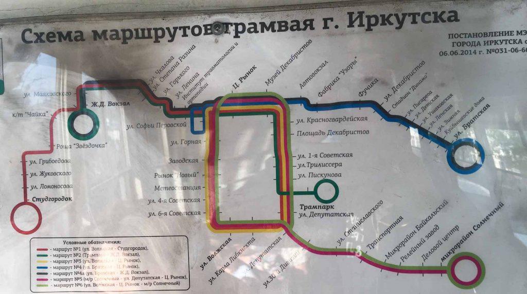 Liniennetzplan Straßenbahn Irkutsk 2014