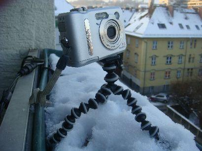 Mini-Stativ Joby Gorillapod im Schnee
