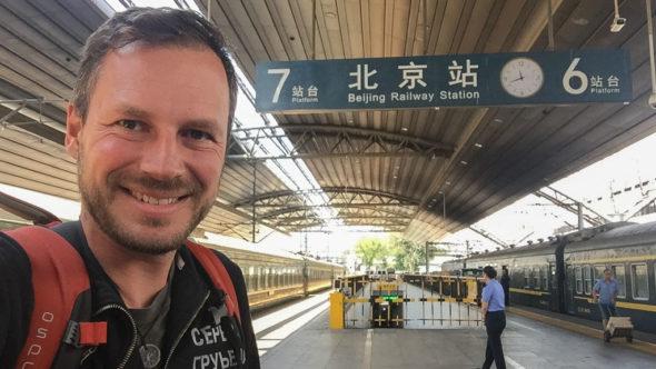 Gerhard Liebenberger in Peking Hauptbahnhof