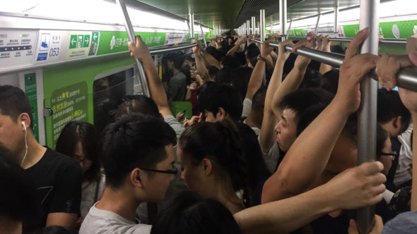 Rush Hour in der U-Bahn Peking