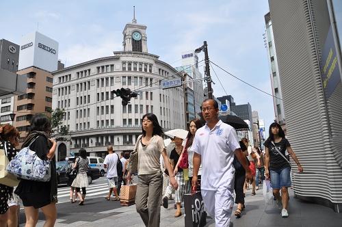 Wahrzeichen des Geschäfts- und Einkaufsviertels Ginza: Die Uhr