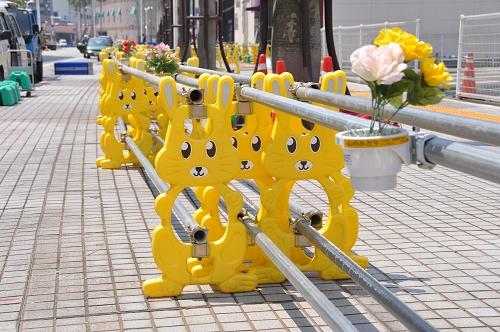 Hasen-Baustellenabsperrung in Shimonoseki