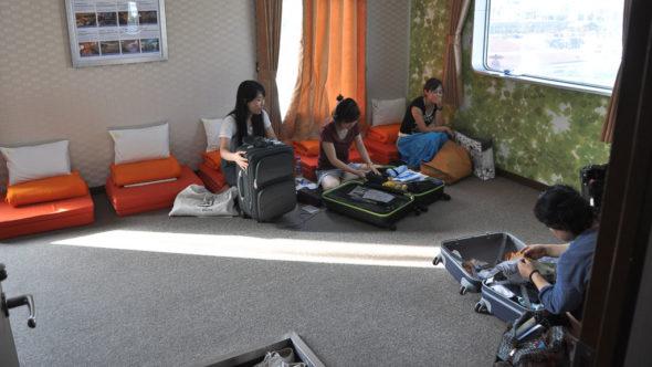 Kabine mit Futon Betten am Boden auf der DBS-Fähre von Russland nach Japan