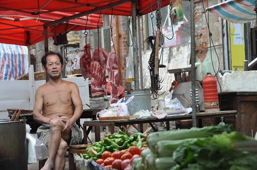 Fleisch am Markt von Qingdao - China