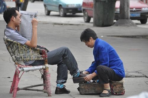 Schuhputzer in Xishui