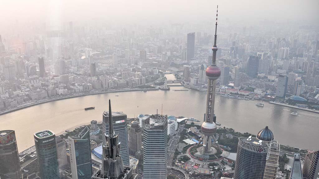 Blick von der Shanghai World Financial Center Aussichtsplattform