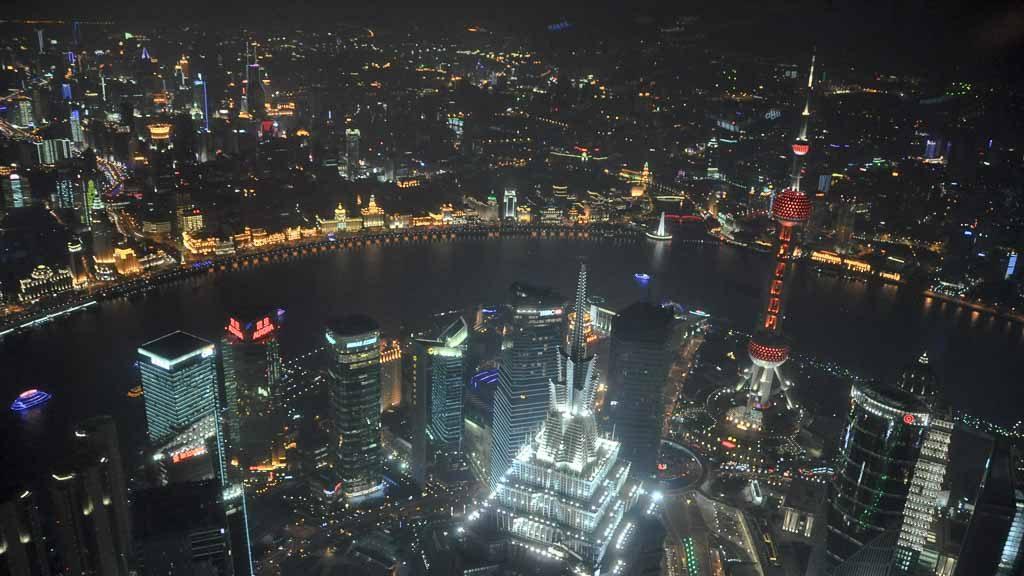 Blick von der Shanghai World Financial Center Aussichtsplattform bei Nacht