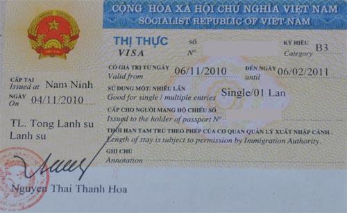 Visum Vietnam im Reisepass