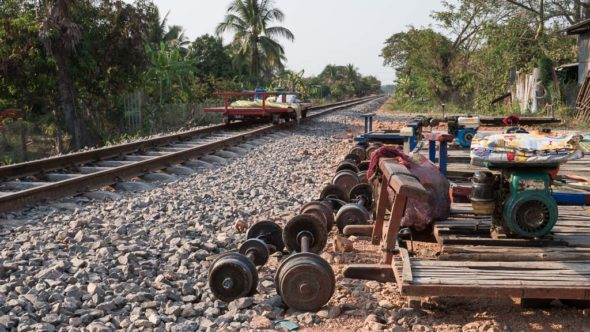 Bamboo Train in Battambang bei Ou Dambang