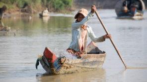 Boot am Sangker in Kambodscha