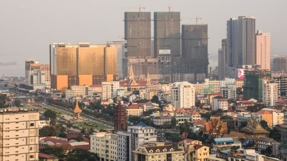 Phnom Penh von oben mit Aussicht vom Phnom Penh Tower