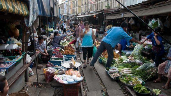 Mae Klong Eisenbahn-Markt