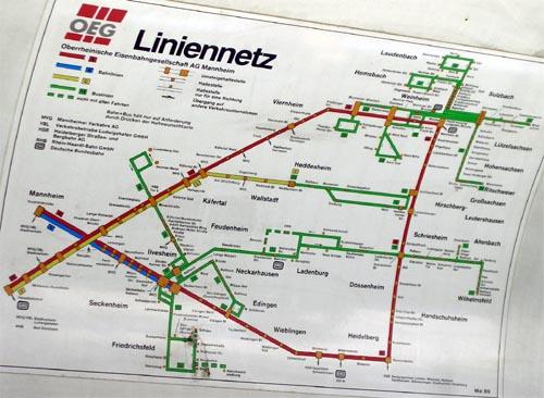 Bild: Liniennetz der Oberrheinischen Eisenbahn AG Mannheim vom Mai 1989