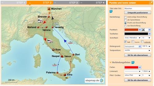 Bild: Landkarte mit Route