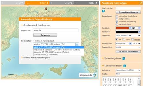 Bild: Ort auf der Landkarte auswählen