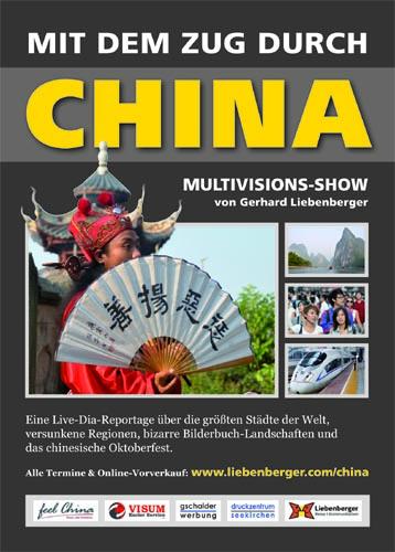 "Plakat Dia-Show ""Mit dem Zug durch China"""