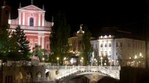 Bild: Presernov Trg und Brücken bei Nacht