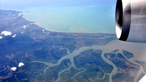 Das Ganges-Brahmaputra-Delta vonoben