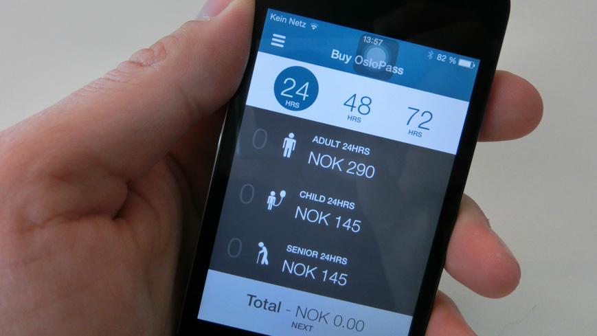 Bild: Oslo Pass App Kaufabwicklung