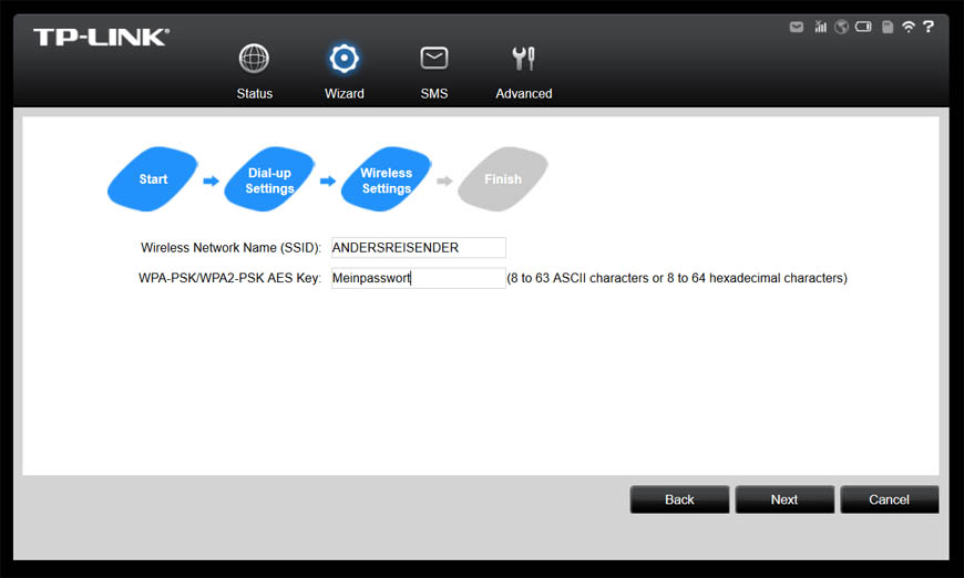 Bild: TP-LINK M5350 Wizard Wireless Settings Screenshot