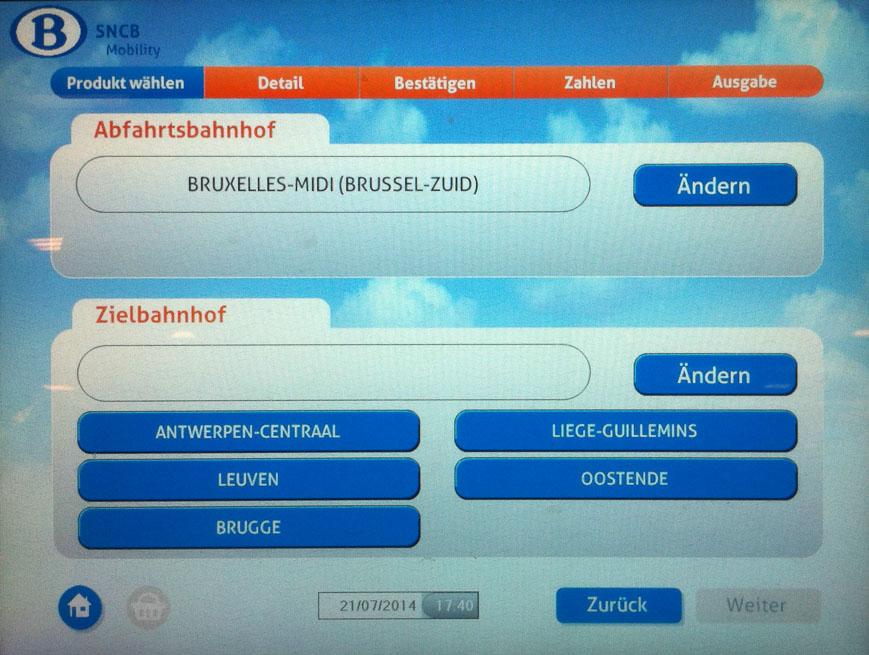 Bild: Einzelfahrschein Fahrkartenautomat Belgien