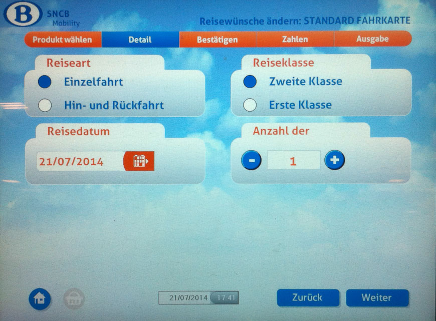 Bild: Detail Einzelfahrschein Fahrkartenautomat Belgien