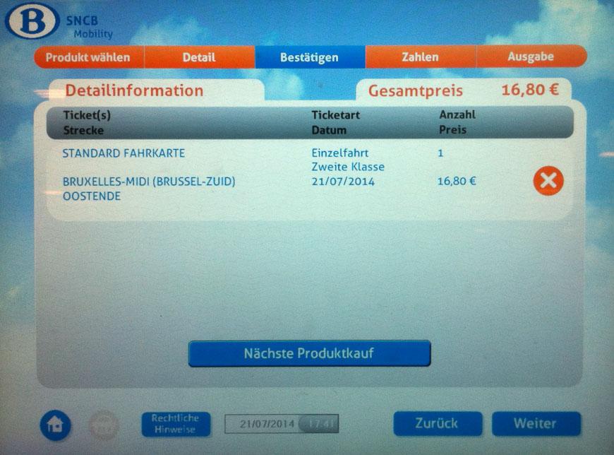 Bild: Bestätigen-Bildschirm Fahrkartenautomat Belgien