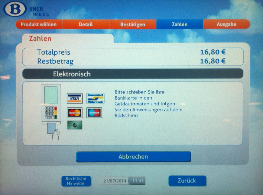 Bild: Zahlen-Bildschirm Fahrkartenautomat Belgien