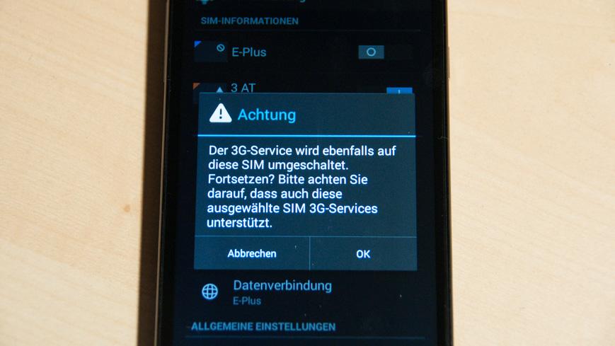 Bild: Hinweis auf 3G-SIM am WIKO Slide