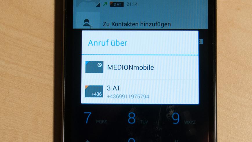 Bild: Abfrage über welche SIM der Anruf getätigt werden soll