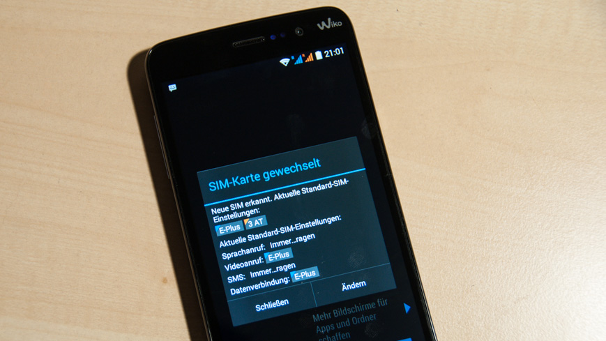 Bild: SIM-Karte gewechselt Hinweis beim WIKO Slide