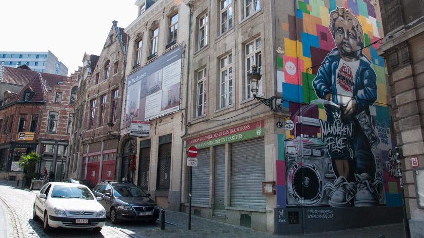 Bild: Manneken Pis Graffiti in Brüssel