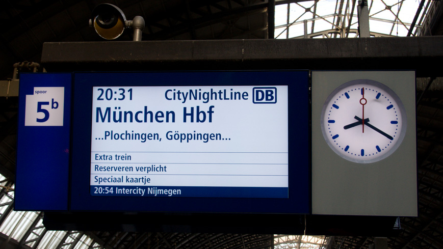 Bild: Anzeige CNL Amsterdam - München