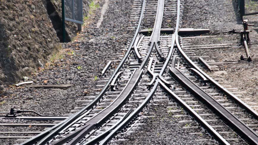Bild: Zahnradbahn-Schienen mit Zahnstangensystem Riggenbach