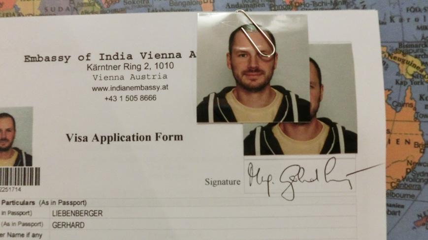 Bild: Visumantrag für Indien