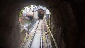 Schräg: Die Mühleggbahn in St. Gallen