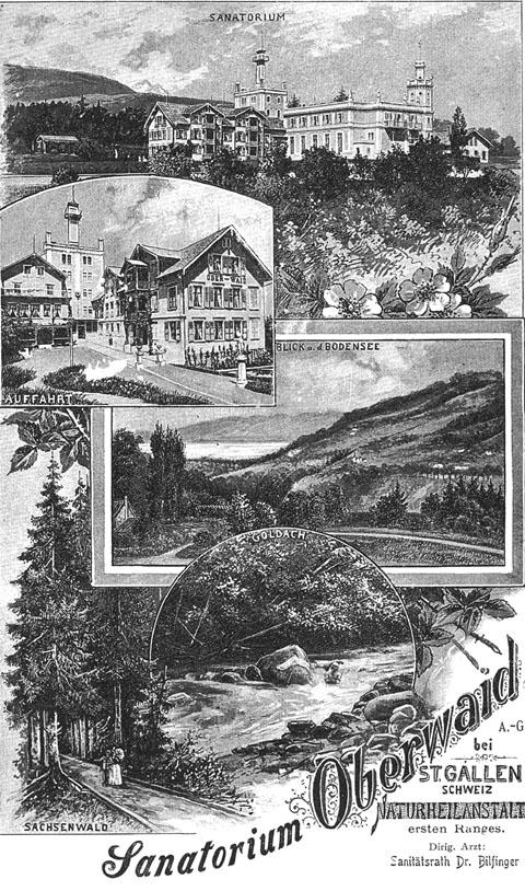 Bild: Alte Ansicht/Plakat vom Kurhaus Oberwaid (c) Kurhaus & Medical Center Oberwaid