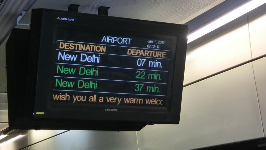 Bild: Anzeige im der Station Airport des Delhi Airport Metro Express
