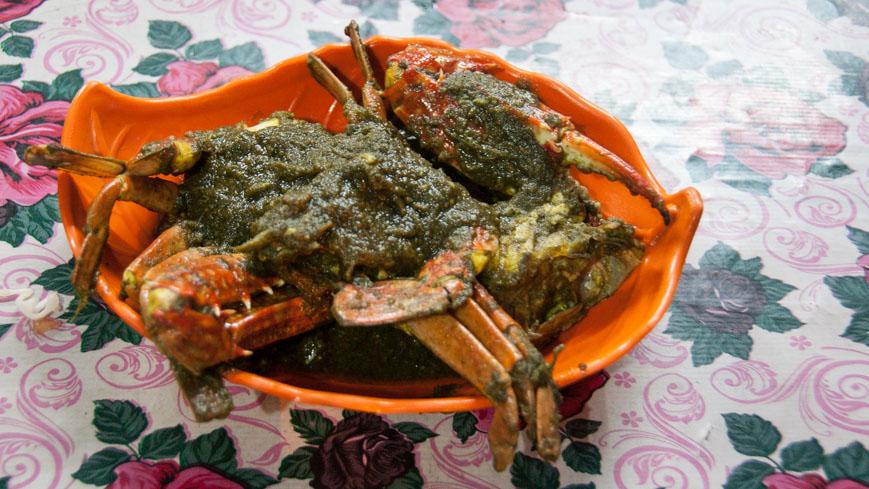 Bild: Krabben im grünen Masala