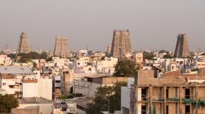 Bild: Sri Minakshi Tempel in Madurai bei Sonnenuntergang