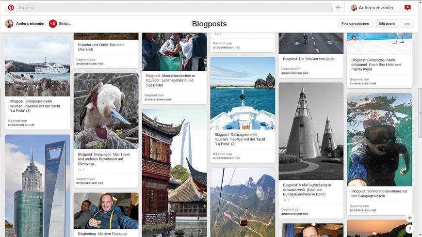 Bild: Blogbeiträge von Andersreisen.net auf Pinterest
