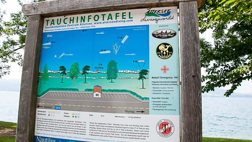 Bild: Tauchinfotafel am Attersee