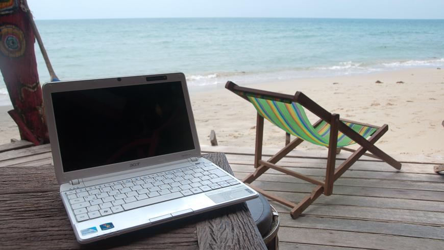 Bild: Reisen und arbeiten am Strand